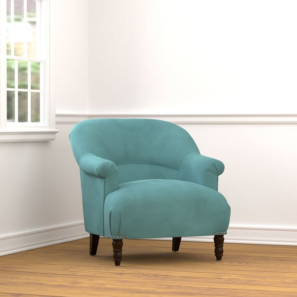Portfolio Marion Turquoise Blue Velvet Arm Chair