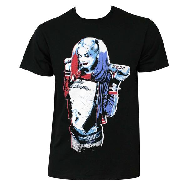 Men's Black Suicide Squad Harley Quinn Queen Pose T-shirt
