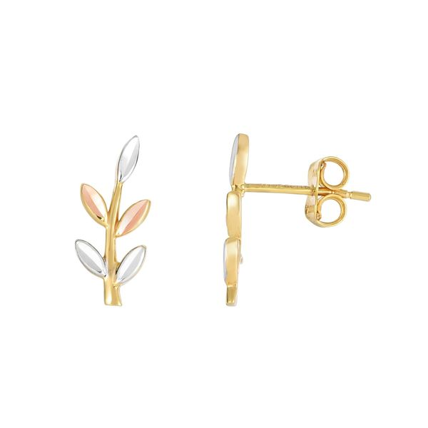 14k Yellow/Rose/White Gold 16mm x 6mm Shiny Diamond-cut Tri-color 5-leaf Climber with Push-back Clasp