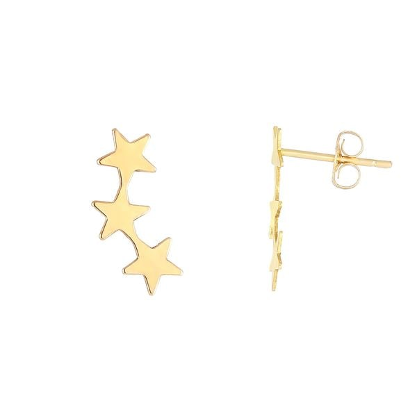 14k Yellow Gold 14 x 6.2-millimeter Shiny 3-star Stud Earrings with Push-back Clasps