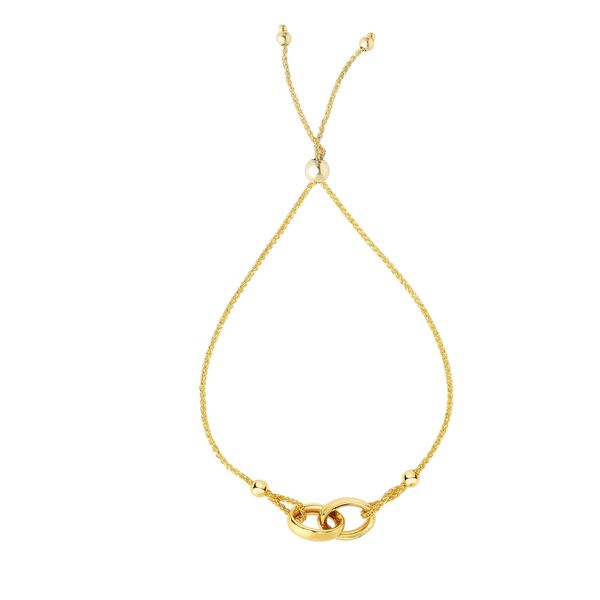 14Kt Yellow Gold Shiny 9.25-inch Interlocked Double Ring Center Element Bracelet