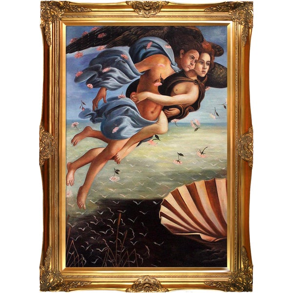 Sandro Botticelli 'Birth of Venus' (left panel) Hand Painted Framed Canvas Art 19634485