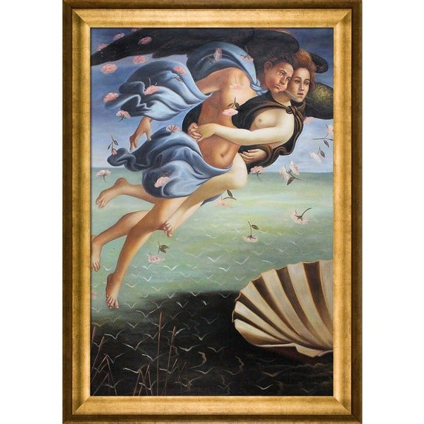 Sandro Botticelli 'Birth of Venus' (left panel) Hand Painted Framed Canvas Art 19634486
