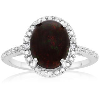 Sterling Silver 1 1/2ct Black Opal and Diamond Accent Halo Ring