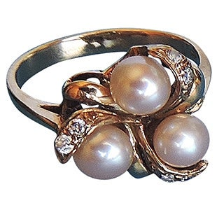 Size 6-1/2 Pink Pearl on Gold Ring