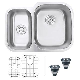 Ruvati RVM4505 Undermount 16-gauge 29-inch Double-bowl Kitchen Sink - Right Configuration