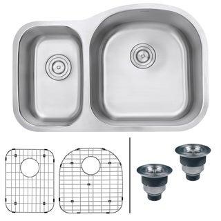 Ruvati RVM4405 Undermount 16-gauge 32-inch Right Configuration Double Bowl Kitchen Sink