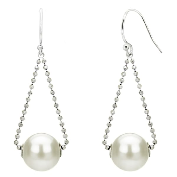 DaVonna Sterling Silver Dangling Dia-Cut Bead Chains and Earwire with 9-10mm Freshwater Pearls Hoop Dangle Earrings.