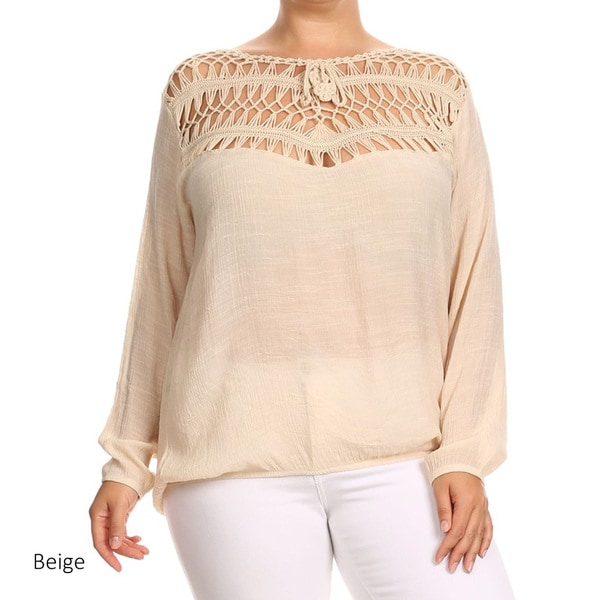 Plus Size Women's Black/Beige Rayon Crochet Lace Trim Top
