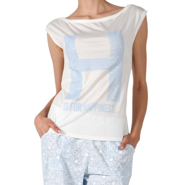 Miorre Women's 'H Is For Happiness' Blue/White Cotton-blend Large Pajama Set