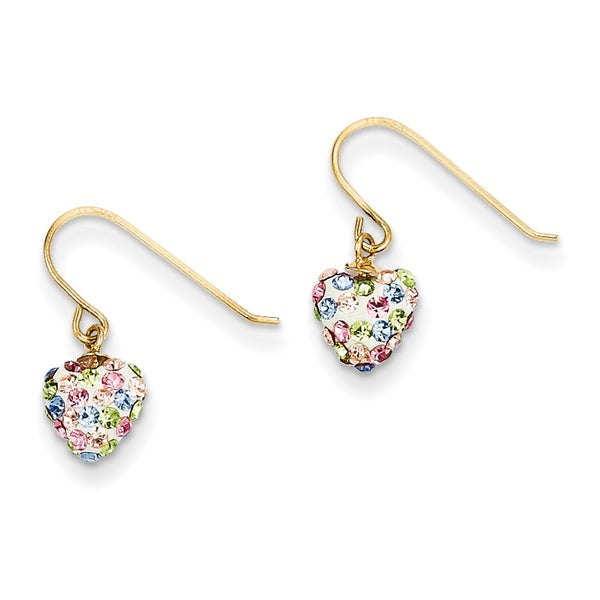 14k Pastel Multi-colored Crystal Heart Dangle Earrings by Versil