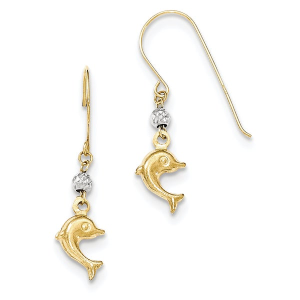 14k Two Toned Puffed Dolphin Shepherd Hook Earrings by Versil