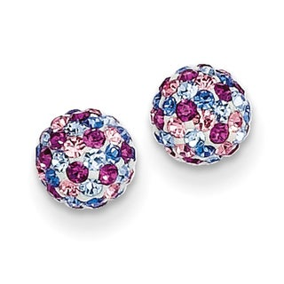 14k Blue Pink Multi Crystal 6mm Post Earrings by Versil