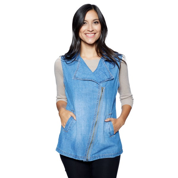 Live A Little Women's Blue Denim Asymmetric Zip Vest