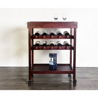 Brown Wood Serving Cart with Wine Rack