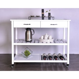 White Solid Wood and Glass 2-drawer Kitchen Island