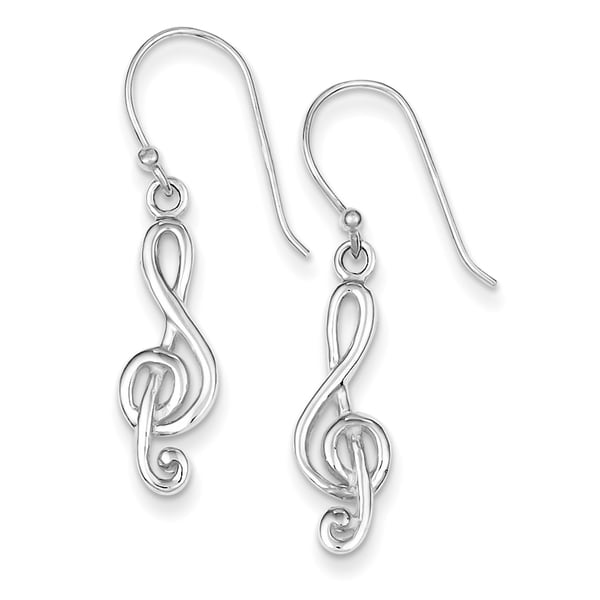 Sterling Silver Music Treble Clef Shepherd Hook Earrings by Versil