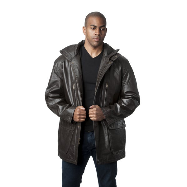 Wilda Leather Brown Leather Parka