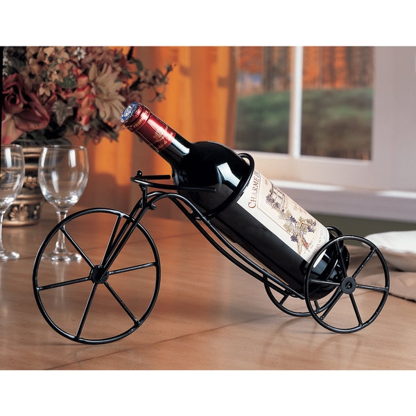 Black Metal Bicycle Wine Bottle Holder