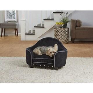 Enchanted Home Pet Black/Silver Ultra Plush Headboard Pet Bed