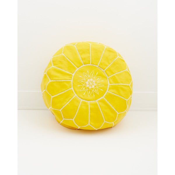 Moroccan Leather Pouf Citrus Yellow Ottoman, (Morocco)