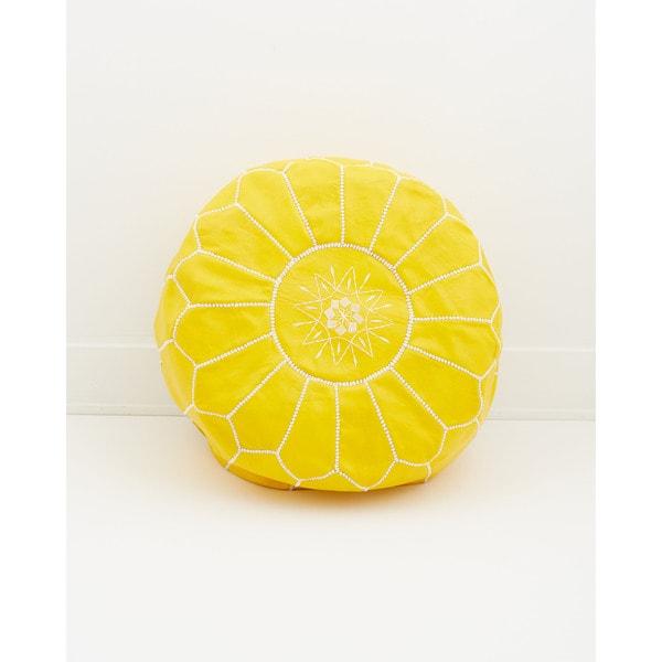 Moroccan Leather Pouf Citrus Yellow Ottoman, (Morocco)