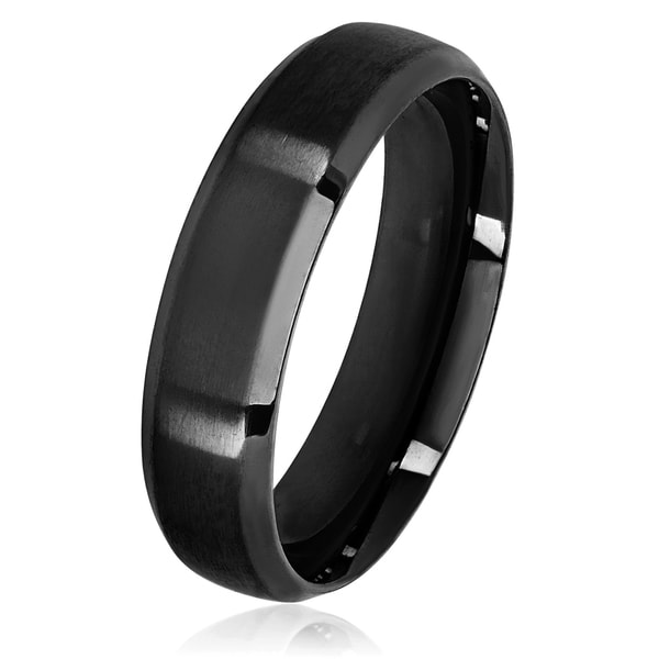 Men's Black Plated Satin Stainless Steel Beveled Comfort Fit Ring - 6mm Wide
