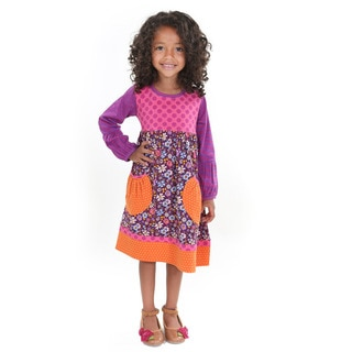 Girl's Multicolored Cotton 'Delany' Knit Dress