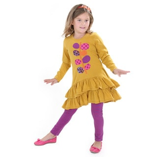 Girl's 'Ruth' Mustard-colored Cotton Knit Set