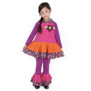 Girl's 'Tiffany' Multicolored Cotton Knit Pants Set