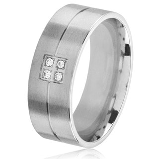 Men's Satin Stainless Steel Crystal Grooved Comfort Fit Ring - 8mm Wide
