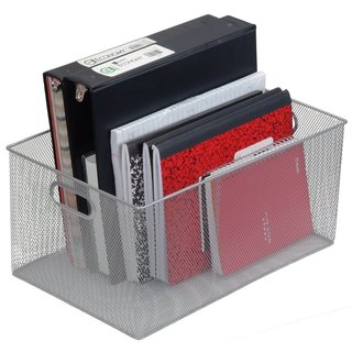 Silver Mesh Open Bin Storage Basket