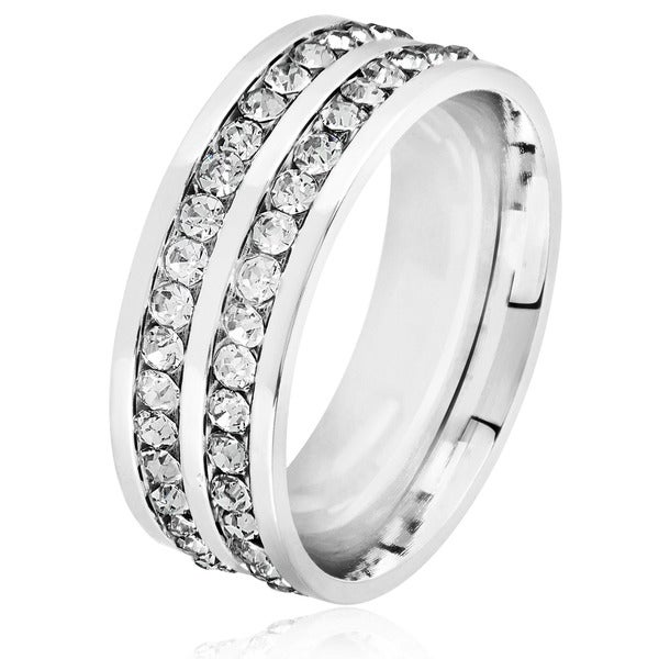 Men's Double Eternity Crystal High Polish Stainless Steel Comfort Fit Ring - 8mm Wide