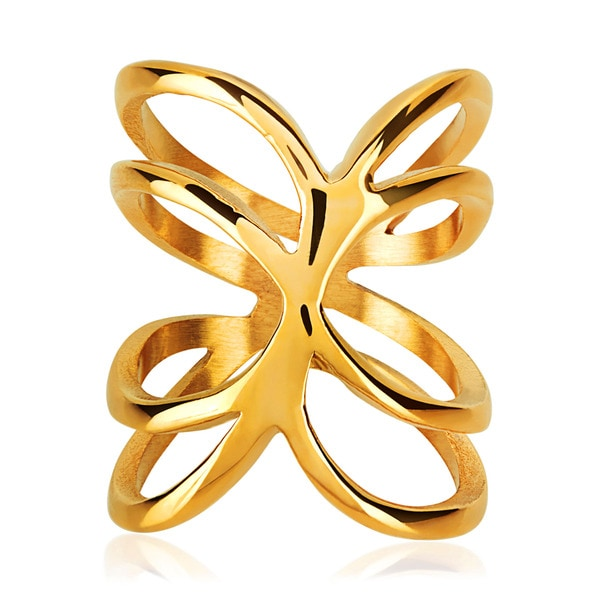 ELYA Gold Plated Open Waved Band Stainless Steel Ring