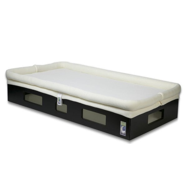 SafeSleep Breathable Ivory Crib Mattress and Espresso Base