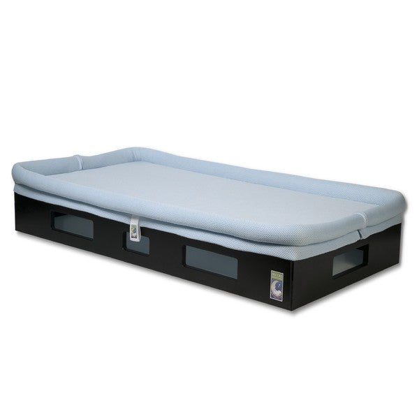 SafeSleep Breathable Light Blue Crib Mattress and Espresso Base