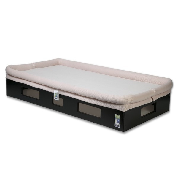 SafeSleep Breathable Pink Crib Mattress and Espresso Base