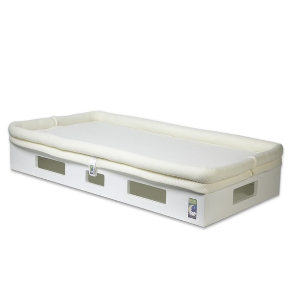 SafeSleep Breathable Ivory Crib Mattress and White Base