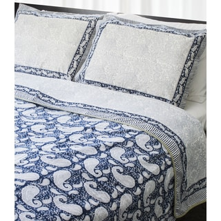 Indian Palace King-Size Quilt - Blue Paisley (India)