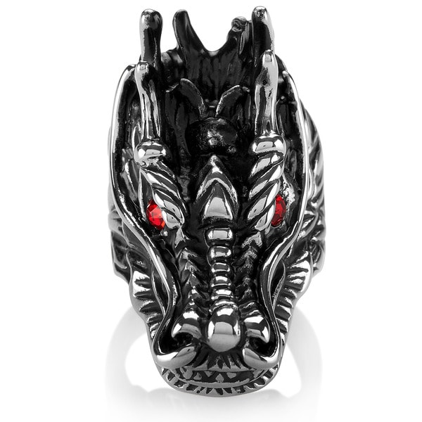 Crucible Men's Stainless Steel Red Crystal Dragon Head Eyes Ring - 42mm Wide