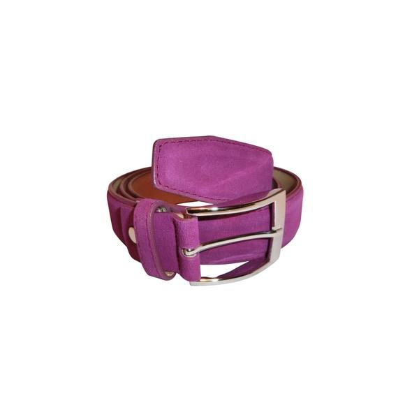 Renoir Purple Suede Dress Belt with Silver Color Buckle