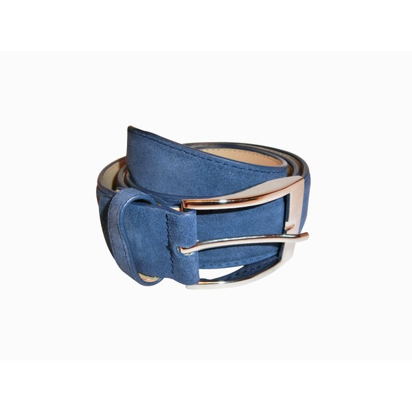 Renoir Blue Suede Dress Belt with Silvertone Buckle