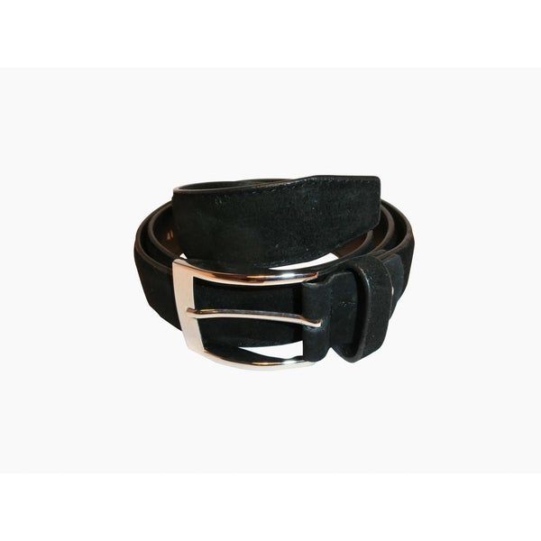 Renoir Black Suede Dress Belt with Silver Color Buckle