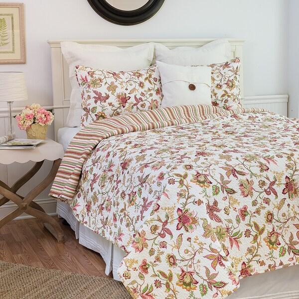 Jacobean Reversible Floral Pink Quilt Set