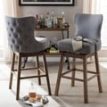 Baxton Studio Dorcas Modern and Contemporary Wood Finishing and Fabric Button-Tufted Upholstered Swivel Barstool 2-Piece Set