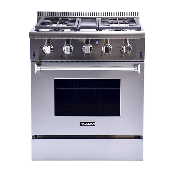 Hallman Stainless Steel 30-inch Professional Convection Gas Range