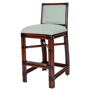 Blue Windsor Rattan Barstool