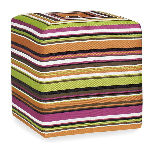 Kendall Multi-Color Stripe Print Cube Ottoman