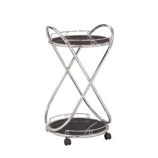 Chrome Metal Black Glass Serving Cart