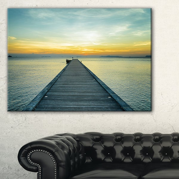 Wood Pier into the Yellow Blue Sea - Wooden Sea Bridge Canvas Wall Art